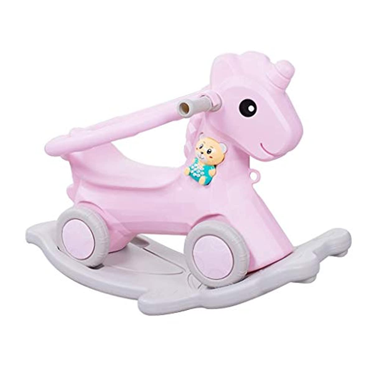 に話す韻強大な揺り木馬子供用トロイの木馬赤ちゃん用プラスチック音楽付き厚みのある赤ちゃんおもちゃロッキングチェアデュアルユース60 * 45cm(色:ピンク)