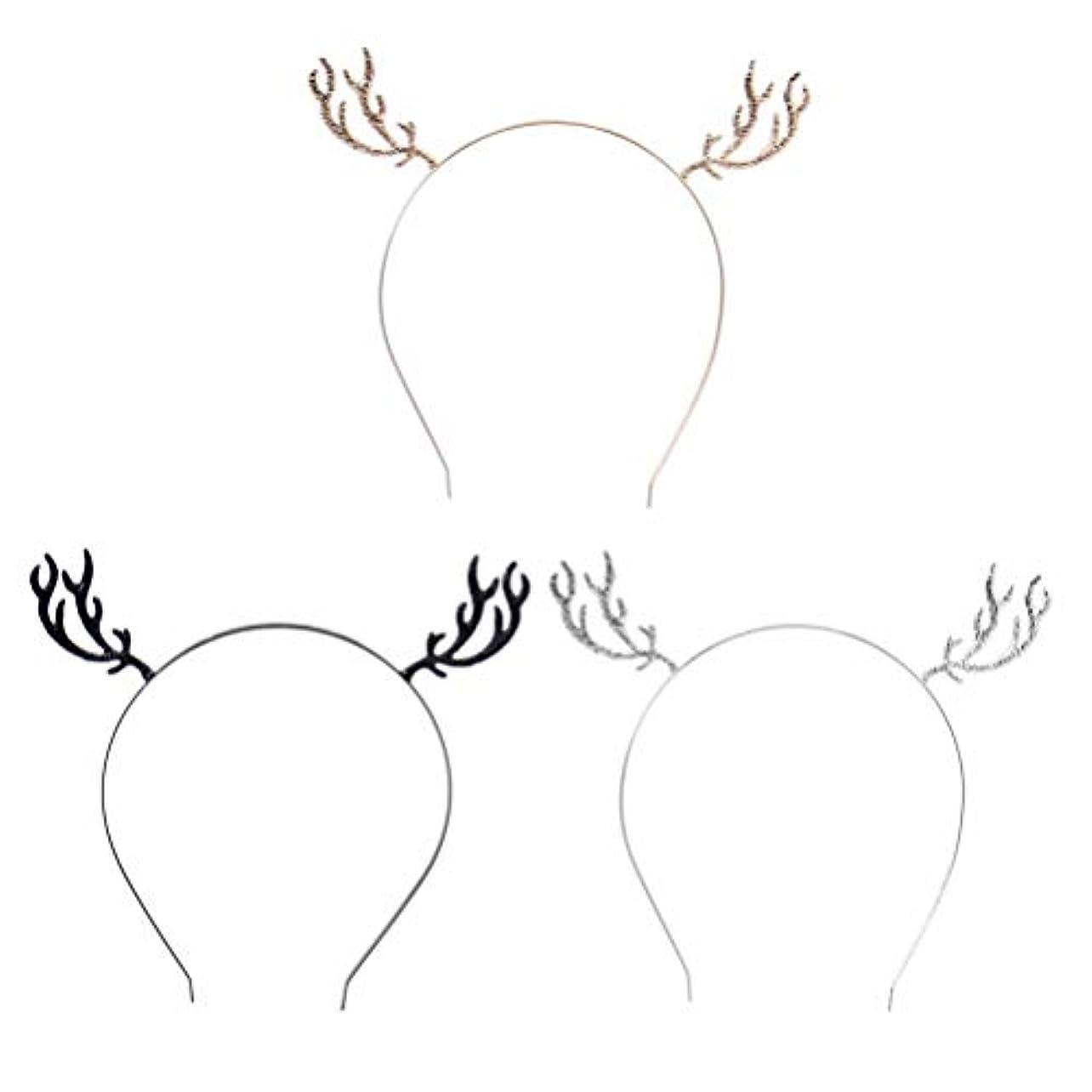 店員株式詩人Frcolor クリスマス カチューシャ 鹿の角 ヘッドバンド 髪飾り 学園祭 仮装 コスチューム 大人 子供用 パーティー 仮装 小道具 3個セット