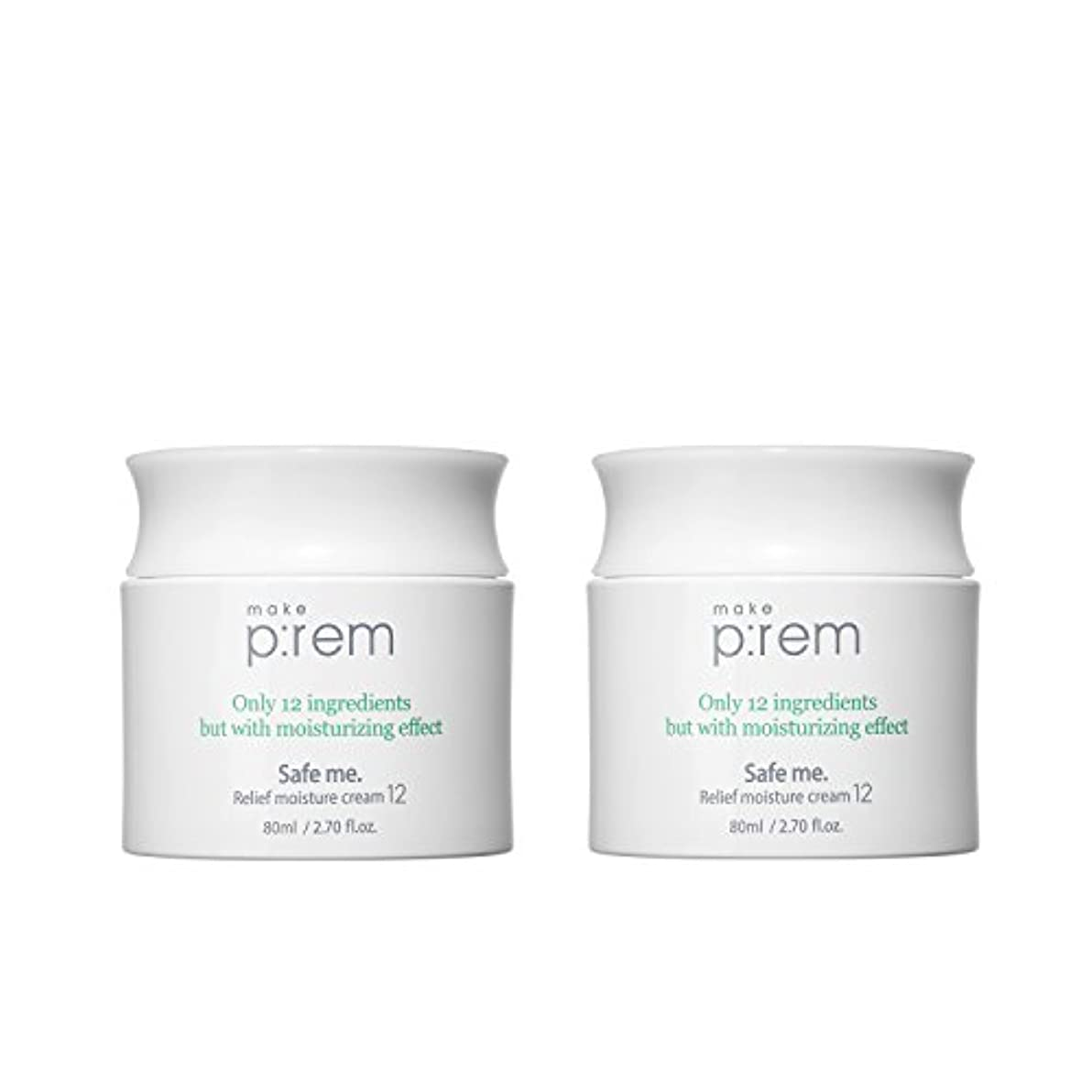 承認面ビリー(2個セット) x [MAKE P:REM] メイクプレム セーフミ?リリーフモイスチャークリーム12 80ml / Safe me. Relief moisture Cream 12 80ml / / 韓国製 . 海外直送品