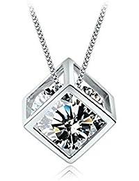 Petrichorシルバー正方形ペンダントwithダイヤモンド形状クリスタルとチェーン – ファッションDaily Wearペンダントチェーン