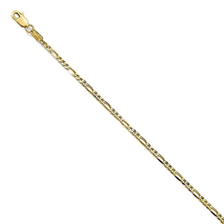14 K黄色ゴールド2.25 MMフラットフィガロネックレスチェーン