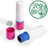 【動物認印】犬ミトメ24・ワイヤーフォックステリア ホルダー:ピンク/カラーインク: 緑