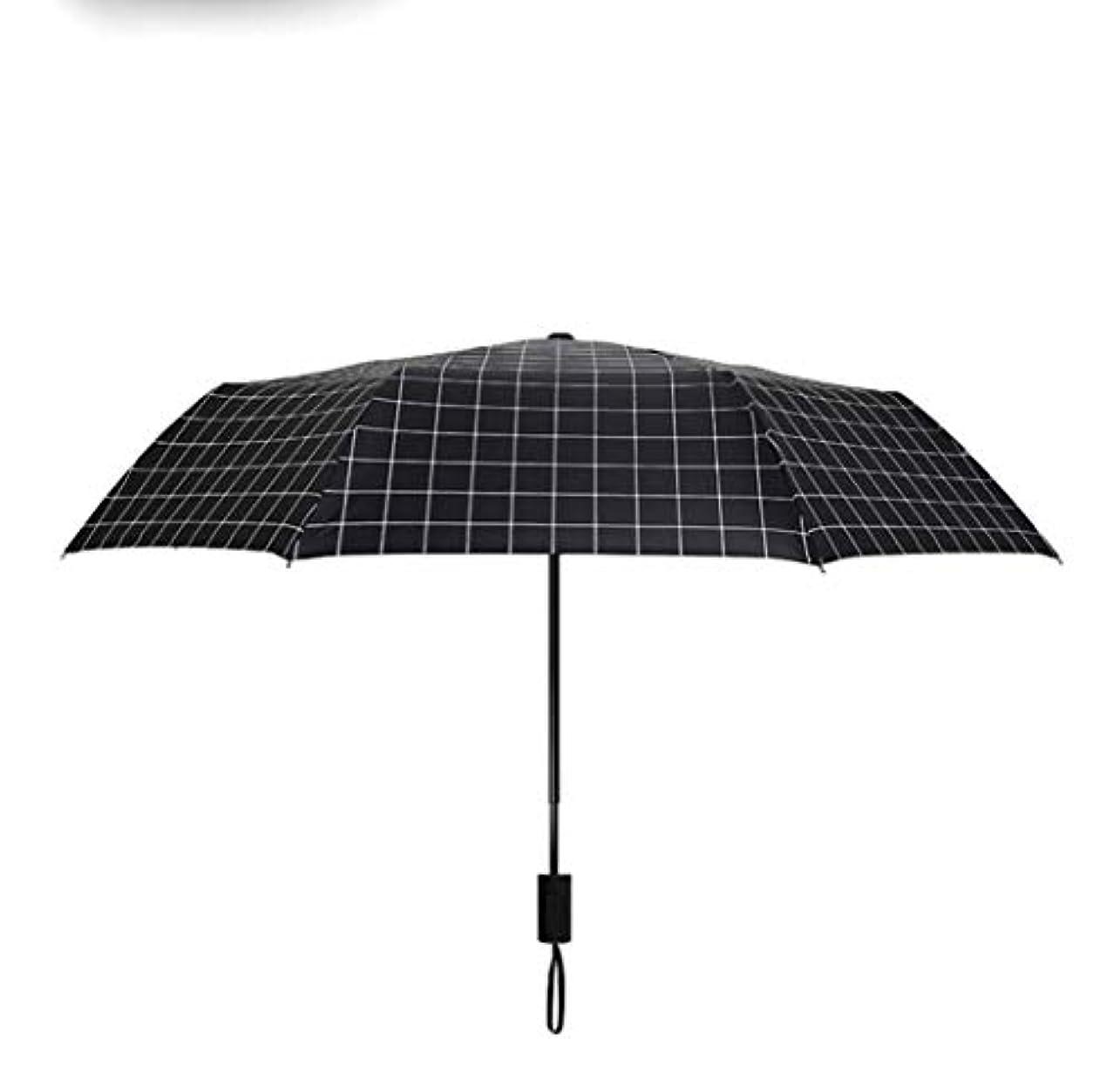 尊厳王族喉が渇いたHOHYLLYA 簡単な格子縞の反紫外線3折る傘の日傘 sunshade (Color : ブラック)