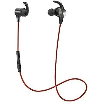 TaoTronics Bluetooth イヤホン(apt-Xコーデック対応・IPX6防水仕樣・CVC6.0) ノイズキャンセリング 自動ペアリング 高音質 マグネット搭載 スポーツ仕様 TT-BH07 (レッド)
