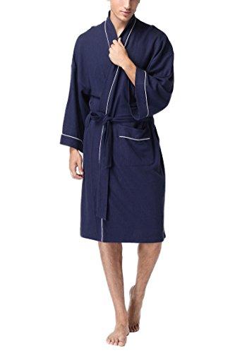アイボレオ(Aibrou)男女兼用バスローブ ホテルタイプ 無漂白・無蛍光ワッフル生地 コットン素材 ネービー S