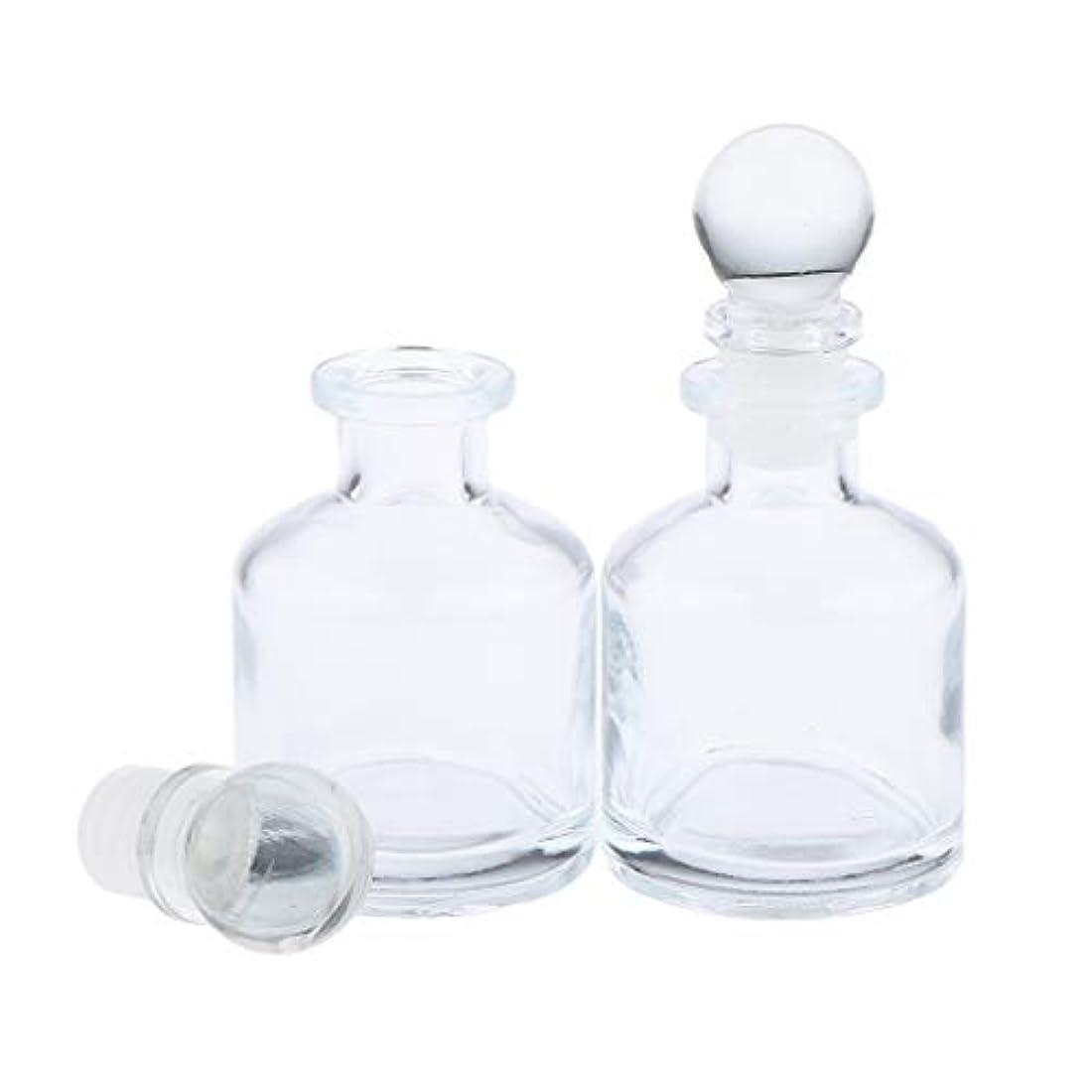 ホールドオールペインギリック偏見B Baosity 2本 リードディフューザー用 ディフューザーボトル 透明 蓋付き 円形 2サイズ選べ - 50ミリリットル