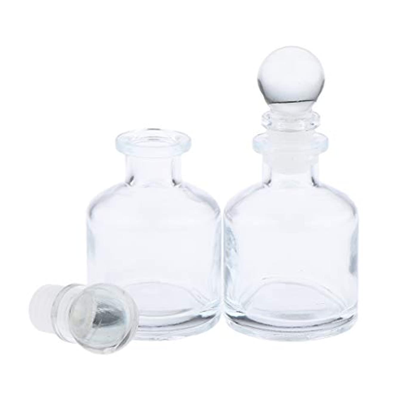 アレルギー餌モードリンF Fityle 2個 香水ディフューザーボトル ガラス瓶 丸い クリア 部屋装飾 インテリア 2サイズ選べ - 50ミリリットル