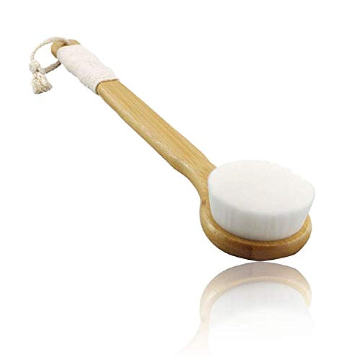 セッション淡いロデオFelimoa ボディースポンジ 洗顔ブラシ 竹製長柄 やわらかボディブラシ 背中 毛穴 ボディ洗浄 (平面 白)