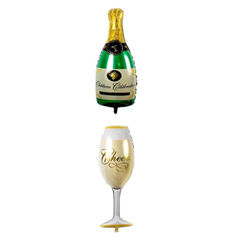 SONONIA 2個 ブライダル 誕生日 パーティー 風船 ホイルバルーン シャンパンボトル形状 シャンパンカップ形状