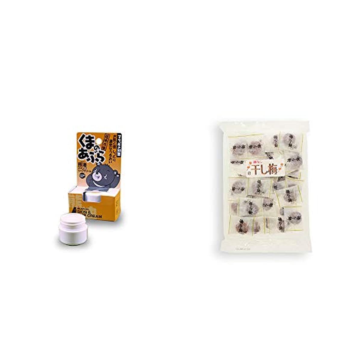 出版パドル電気的[2点セット] 信州木曽 くまのあぶら 熊油スキン&リップクリーム(9g)?種なし干し梅(160g)[個包装]