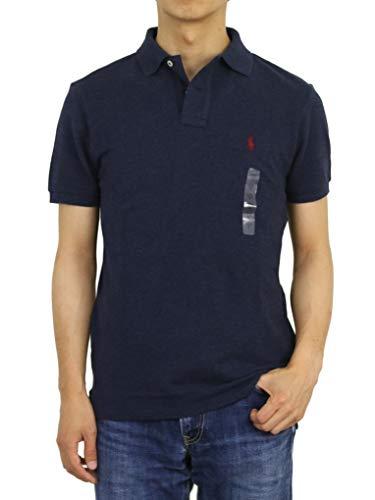 (ポロ ラルフローレン) POLO Ralph Lauren カスタム スリム フィット メンズ 鹿の子 半袖 ポロシャツ CUSTOM SLIM FIT 0105607 (US S (日本M相当), NAVY HTR) [並行輸入品]