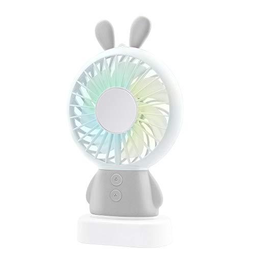 Sunshine Century WAYONE 手持ち扇風機 USB扇風機 充電式 ミニ 小型 首掛け扇風機 携帯 卓上置き両用扇風機 風量2段階調節 多色LEDライト付きミニ ファン ハンディ ファン7枚羽根 携帯便利 動物 可愛い 軽量 熱中症対策 うさぎ, グレー