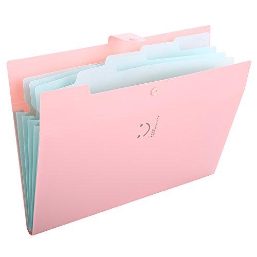 BRIDALファイルフォルダ a4 ファイルケース 5分類 書類挟み 紙挟み ドキュメントスタンド ファイルボックス 笑顔 収納 スナップ式 防水 32.4×23.6×1.9cm ブラック ピンク レッド イェロー グリンー (ピンク)