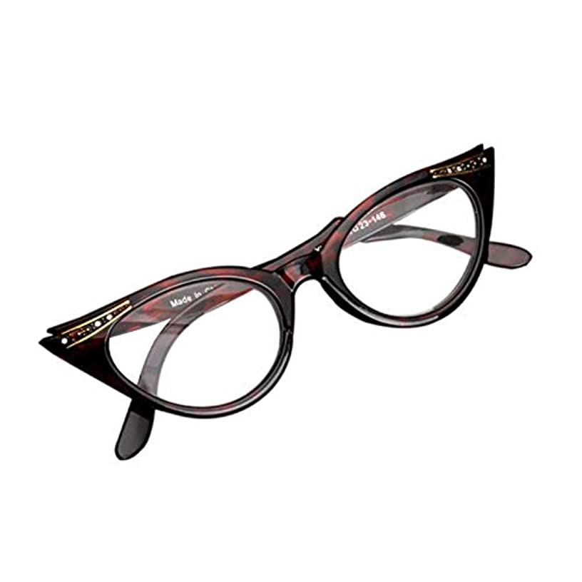 FidgetGear 眼鏡女性ヴィンテージキャットアイ読者ラインストーン付きメガネを読む新しい ヒョウ