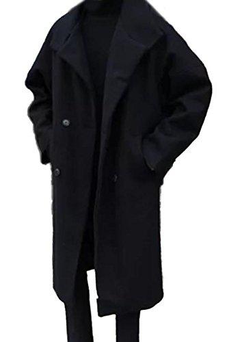 PIITE メンズ チェスターコート 冬 柔らかい ロングアウター ファッション シンプル かっこいい カジュアル 厚手 ロングコート ゆったり 大きいサイズ 韓国風 オーバーコート黒PT4