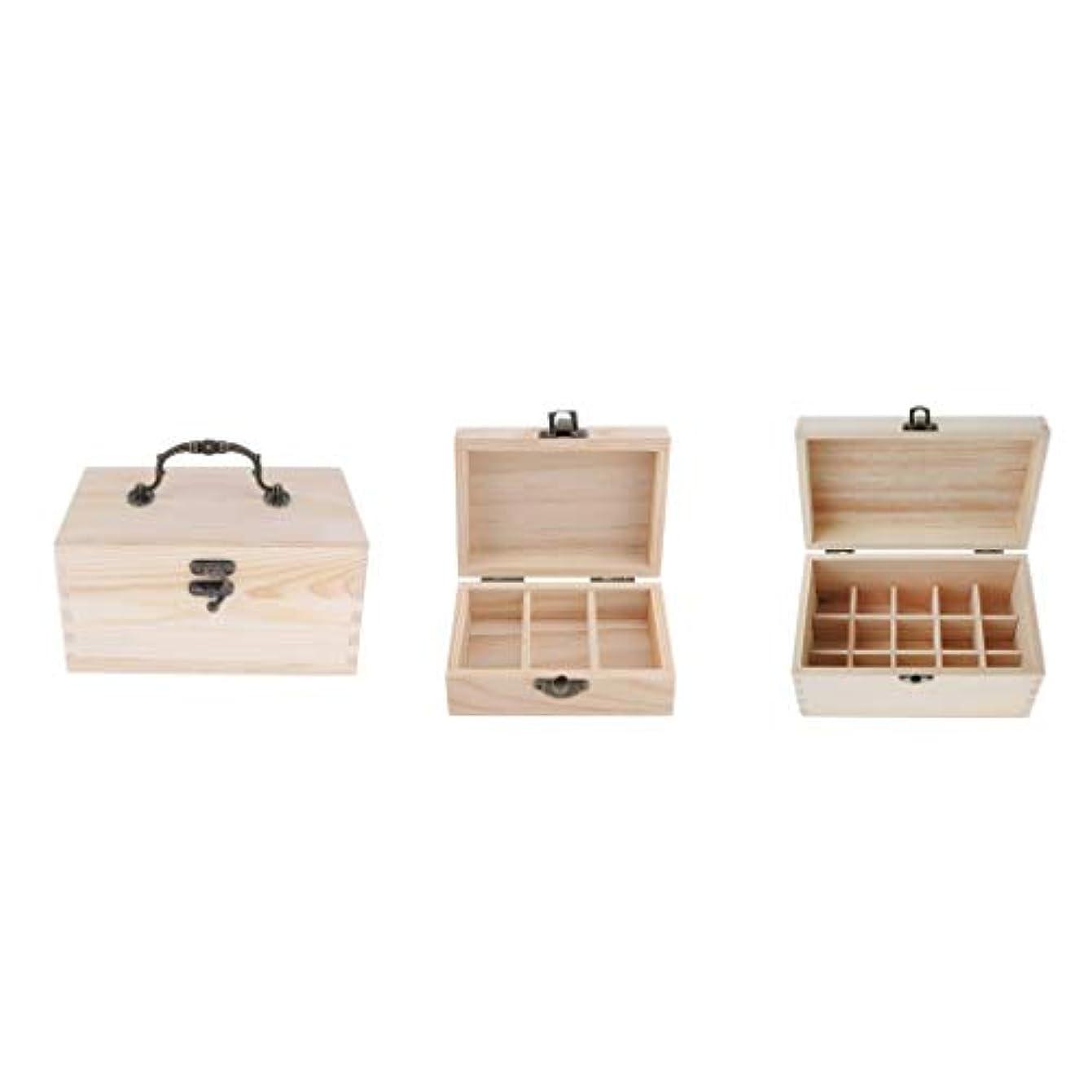 一元化する追加必需品Prettyia エッセンシャルオイル収納ボックス 精油収納ケース 超大容量 木製 精油収納 香水収納ケース 携帯用 3個入