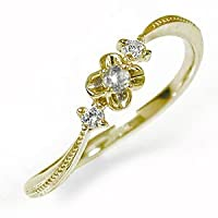 アルマ 花 フラワーモチーフ ピンキーリング 10金イエローゴールド 誕生石 ミル ダイヤモンド 指輪 サイズ 4.5号 【160519w12】