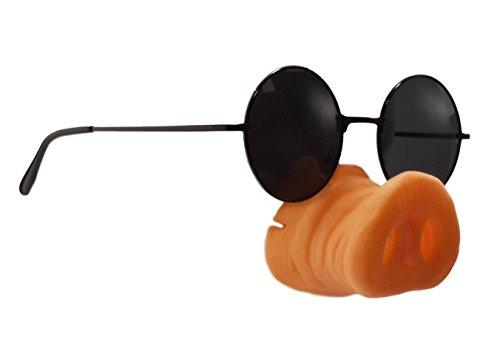Paraizo コスプレ アイテム 豚の鼻 & サングラス 2点セット コスチューム 小物 二次会 ものまね ゴムバンド付き 一発芸