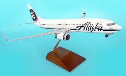 1: 100 スカイマークスSuprem Alaska 航空 ボーイング 737-800 Eskimo / Flowers Colors, with Landing Gear and Wood Sta