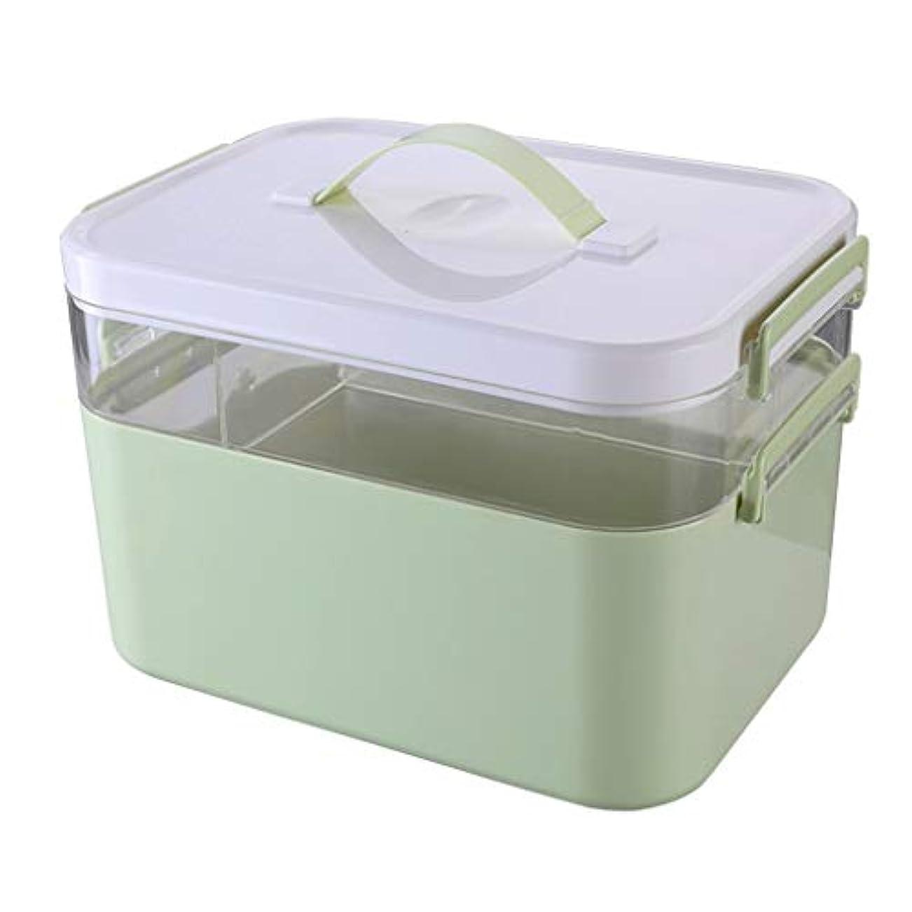 エッセイグラフドアミラーピルボックスPP 28.5 * 19.5 * 18cm家庭用薬ボックス薬収納ボックス (色 : 緑)