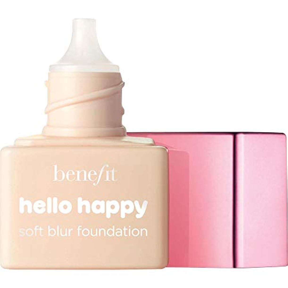 ユーモラスコスト識字[Benefit ] ミニ2 - - ハロー幸せソフトブラー基礎Spf15の6ミリリットルの利益に暖かい光 - Benefit Hello Happy Soft Blur Foundation SPF15 6ml - Mini...