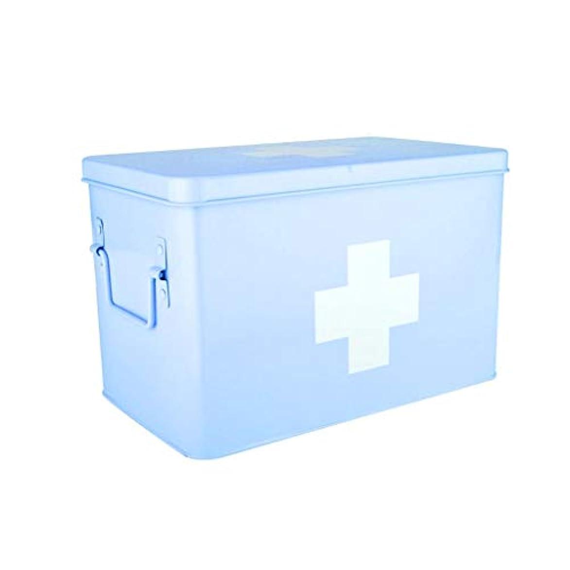 作業通り抜ける写真を描くDjyyh 二重層および2つのコンパートメントが付いている医学の収納箱、金属の救急処置の薬の収納箱 (色 : 青, サイズ さいず : S s)