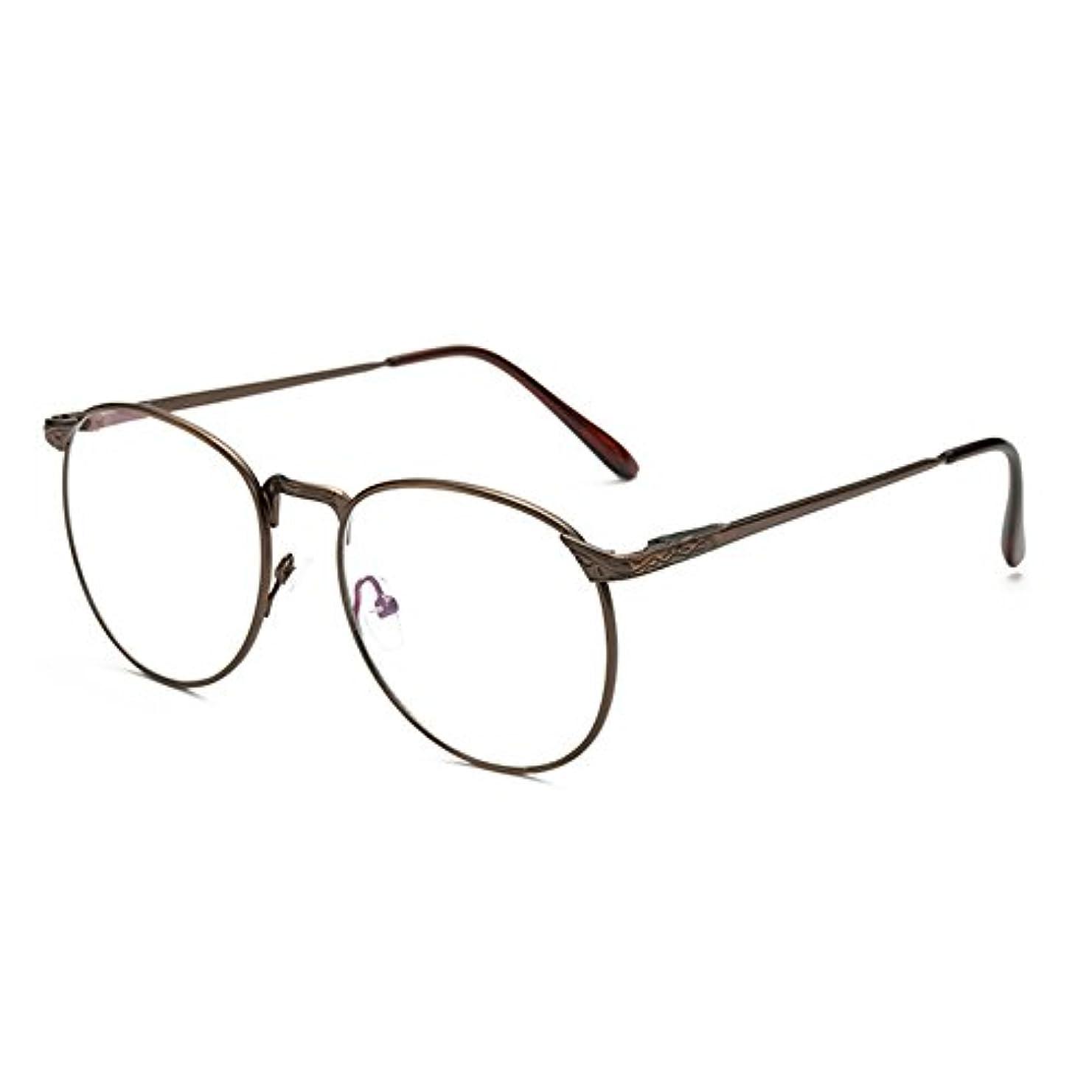グラム意図する矛盾するFuyingda レトロラウンド大フレームのメガネ メタルフレームファインボーダーファッションメガネ アンチブルーメガネ