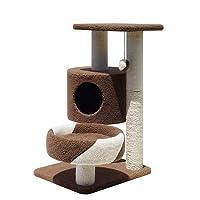 小さな猫登山フレーム猫の家具無垢材の猫のトイレ猫の猫の木の太字サイザル柱猫登山猫用品 (Color : ブラウン)