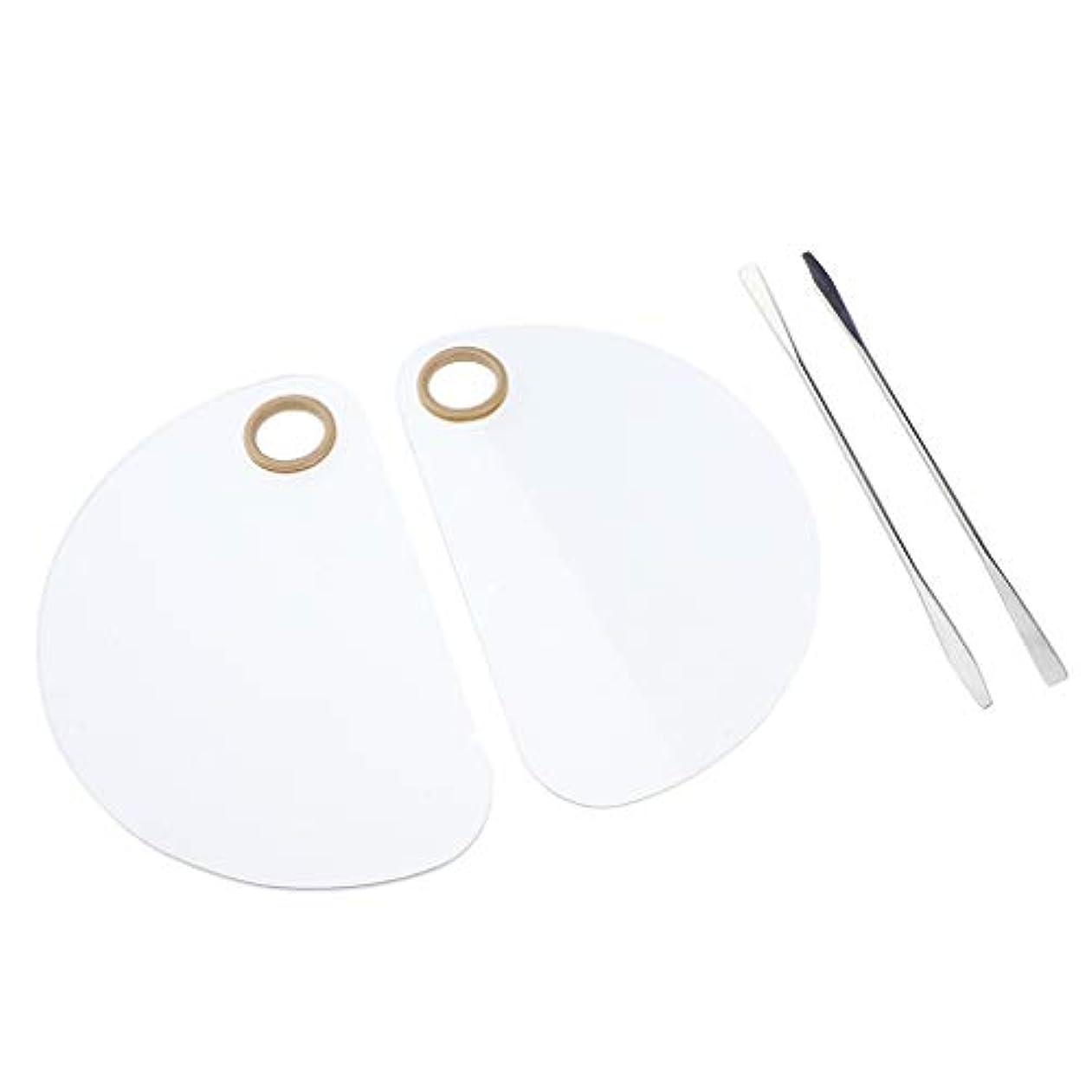 Perfeclan 2個入り ペイントパレット 透明パレット スパチュラ付き 全3選択 - 丸い