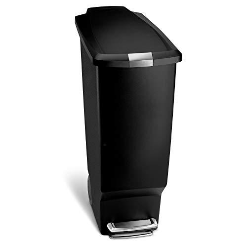 simplehuman(シンプルヒューマン) スリム プラスチック ステップカン 40L ブラック CW1361 幅26×奥行49×高さ64cm 1個