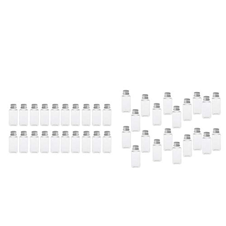 沈黙責め夕方T TOOYFUL 60個入り 空ボトル メイクアップボトル ローションボトル 化粧ボトル 旅行用品 全4選択 - クリア+銀(約40個)