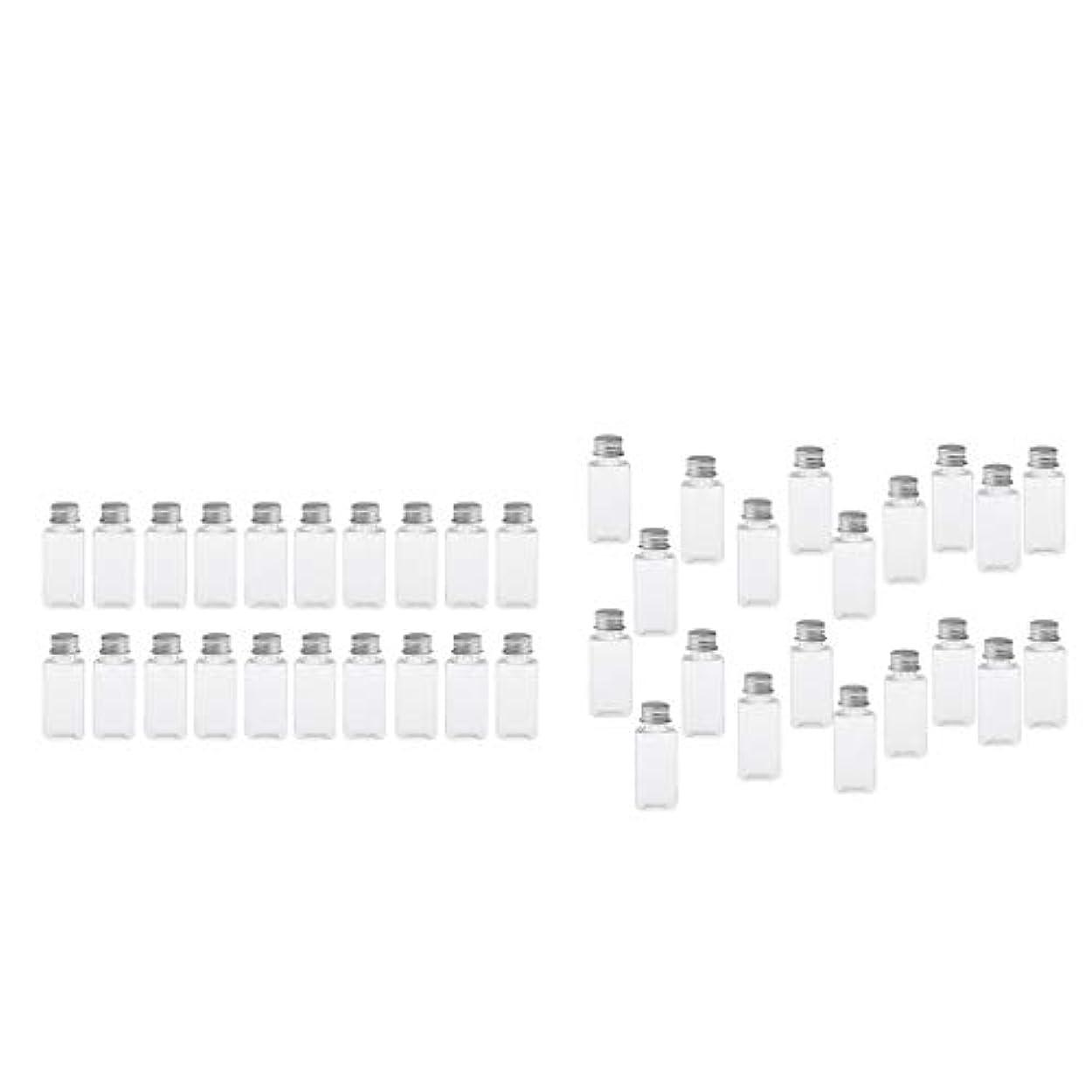 バドミントン留まるゲージT TOOYFUL 60個入り 空ボトル メイクアップボトル ローションボトル 化粧ボトル 旅行用品 全4選択 - クリア+銀(約40個)