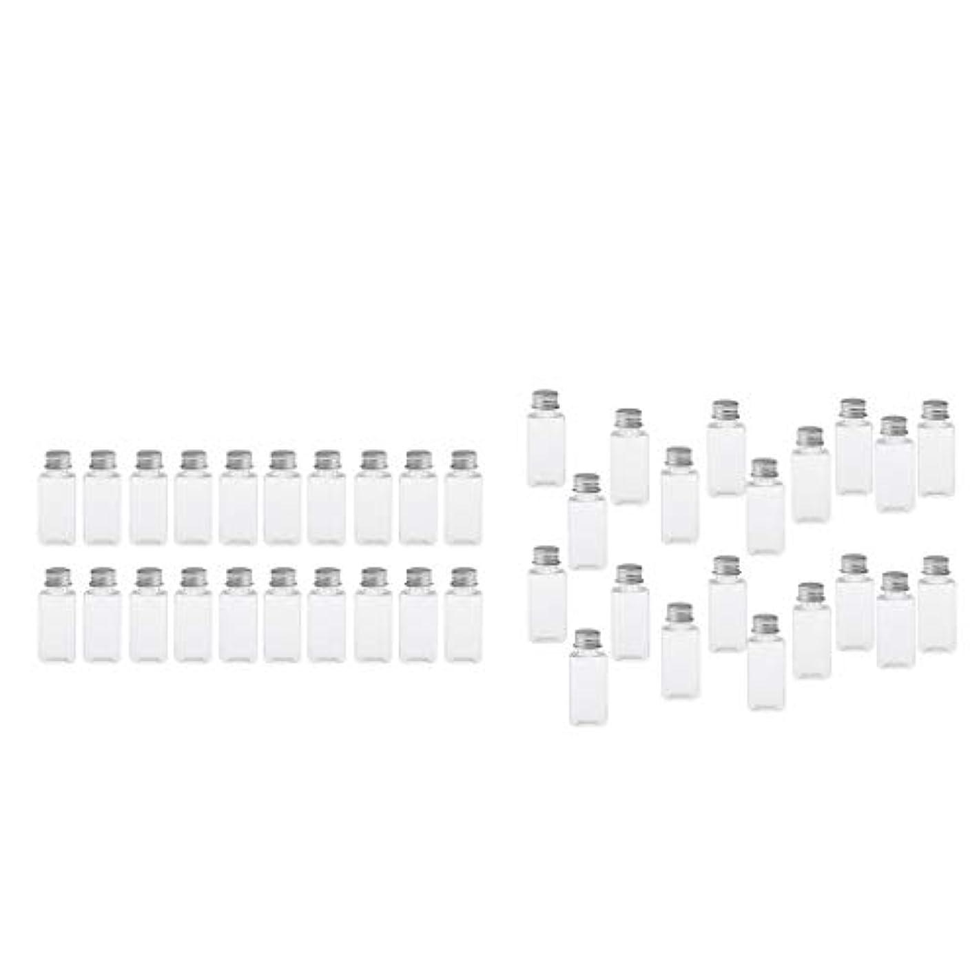 アレルギー性ベンチャー豊かにするT TOOYFUL 60個入り 空ボトル メイクアップボトル ローションボトル 化粧ボトル 旅行用品 全4選択 - クリア+銀(約40個)