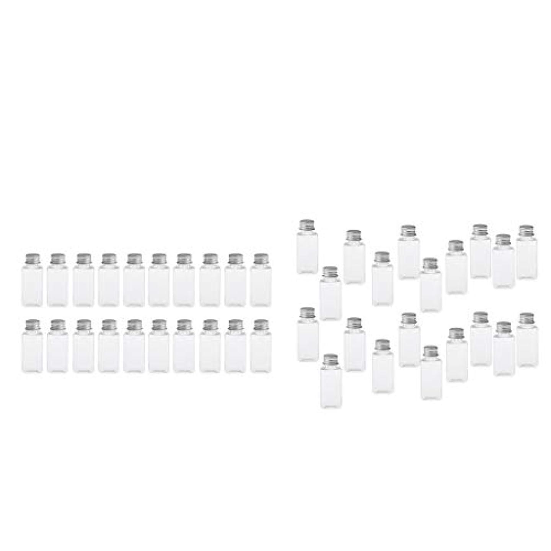 アナウンサー同時マークT TOOYFUL 60個入り 空ボトル メイクアップボトル ローションボトル 化粧ボトル 旅行用品 全4選択 - クリア+銀(約40個)
