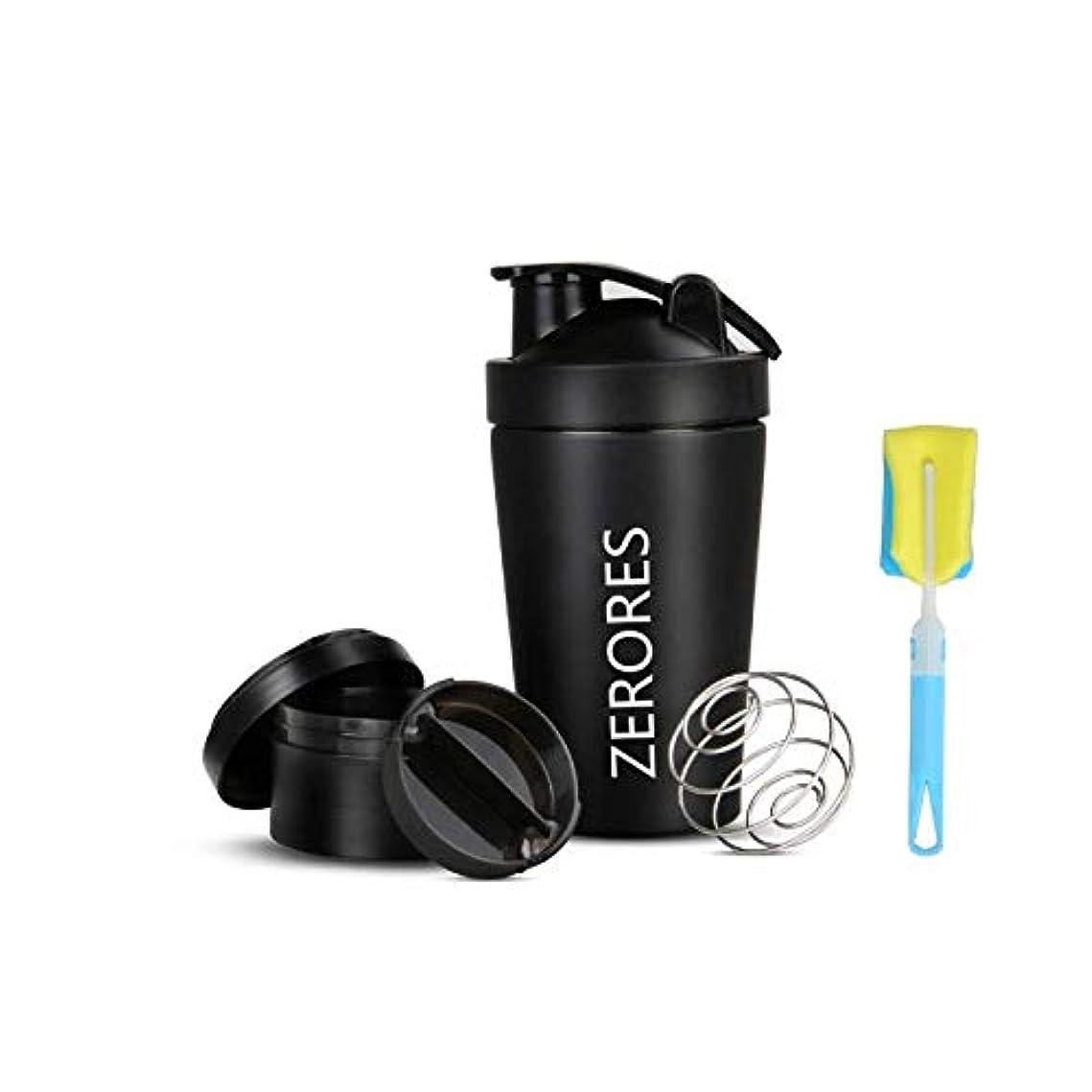 ファンタジー宣言する設置ZERORESステンレススチールスポーツウォーターボトルシェーカーカップ、漏れ防止、BPAフリー(黒い) 600ML