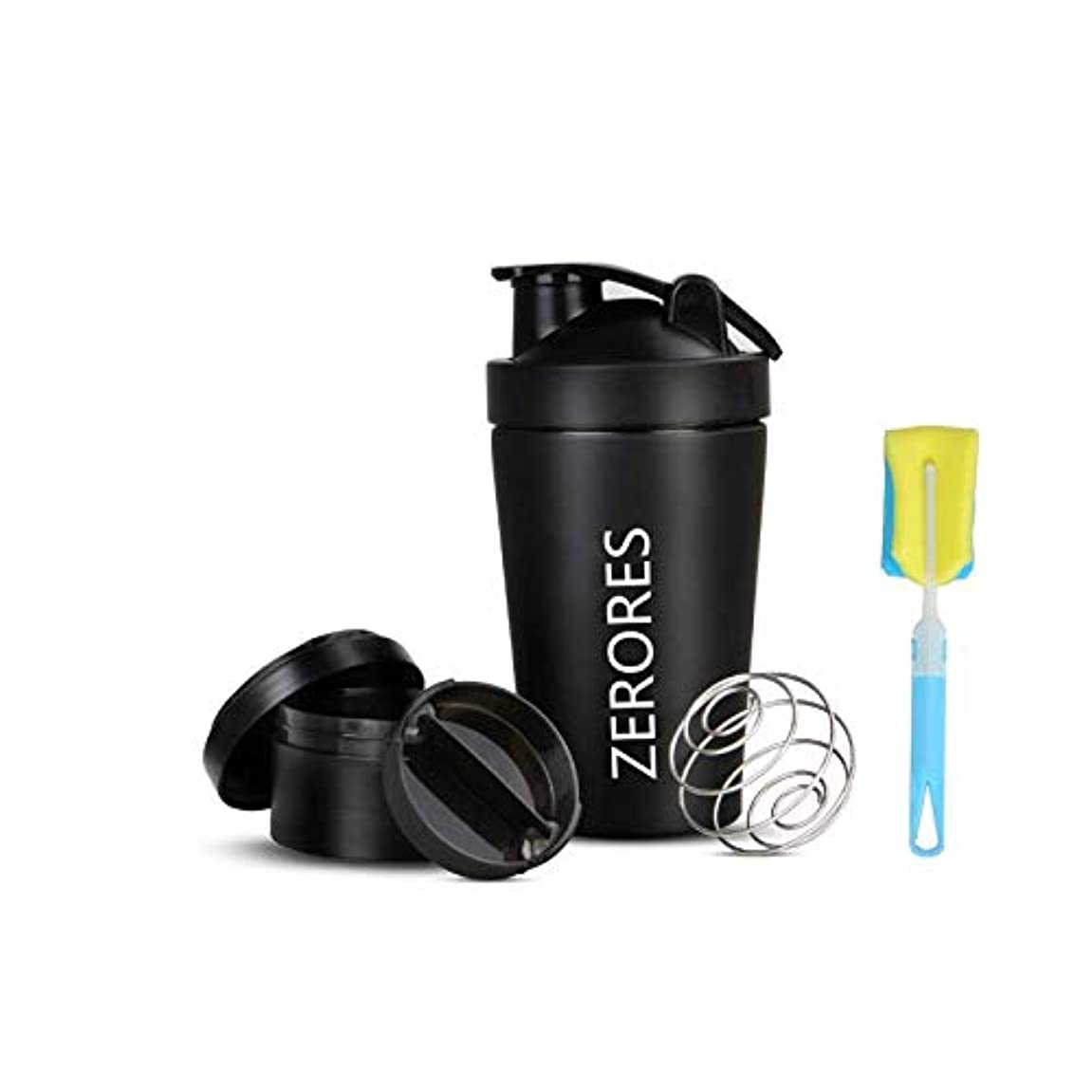 発表するランダム樹皮ZERORESステンレススチールスポーツウォーターボトルシェーカーカップ、漏れ防止、BPAフリー(黒い) 600ML