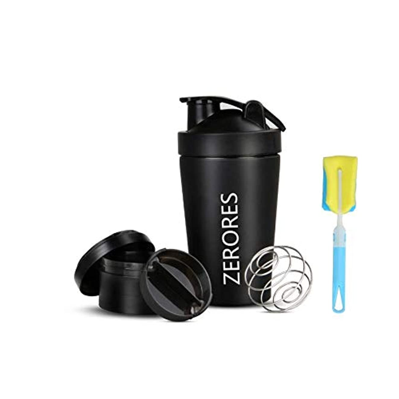 ZERORESステンレススチールスポーツウォーターボトルシェーカーカップ、漏れ防止、BPAフリー(黒い) 600ML