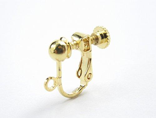 (アップフェル) イヤリング 玉ブラ ネジバネ パーツ (約13mm・皿約4mm) 20個 (10ペア) ゴールド カン 付き ネジ バネ 台座
