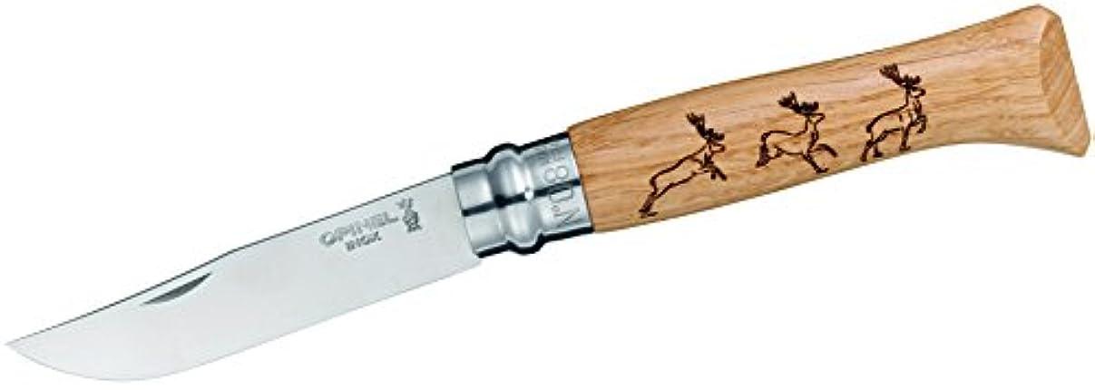 コインランドリー収束する泥Opinel-Knife Animalia, size 8, Design Deer, Oak Wood, Sandvik steel 12C27