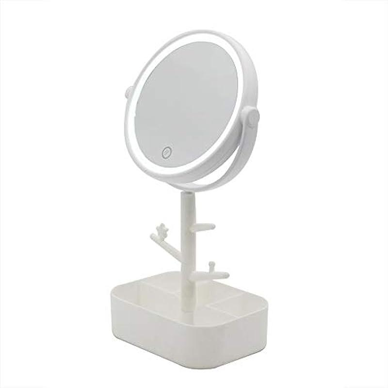 感謝している志す伝導率Lecone LED化粧鏡 女優ミラー 卓上ミラー 360度調整可能 スタンドミラー LEDライト メイク 化粧道具 円型 収納ケース 可収納 USB給電 (ホワイト)