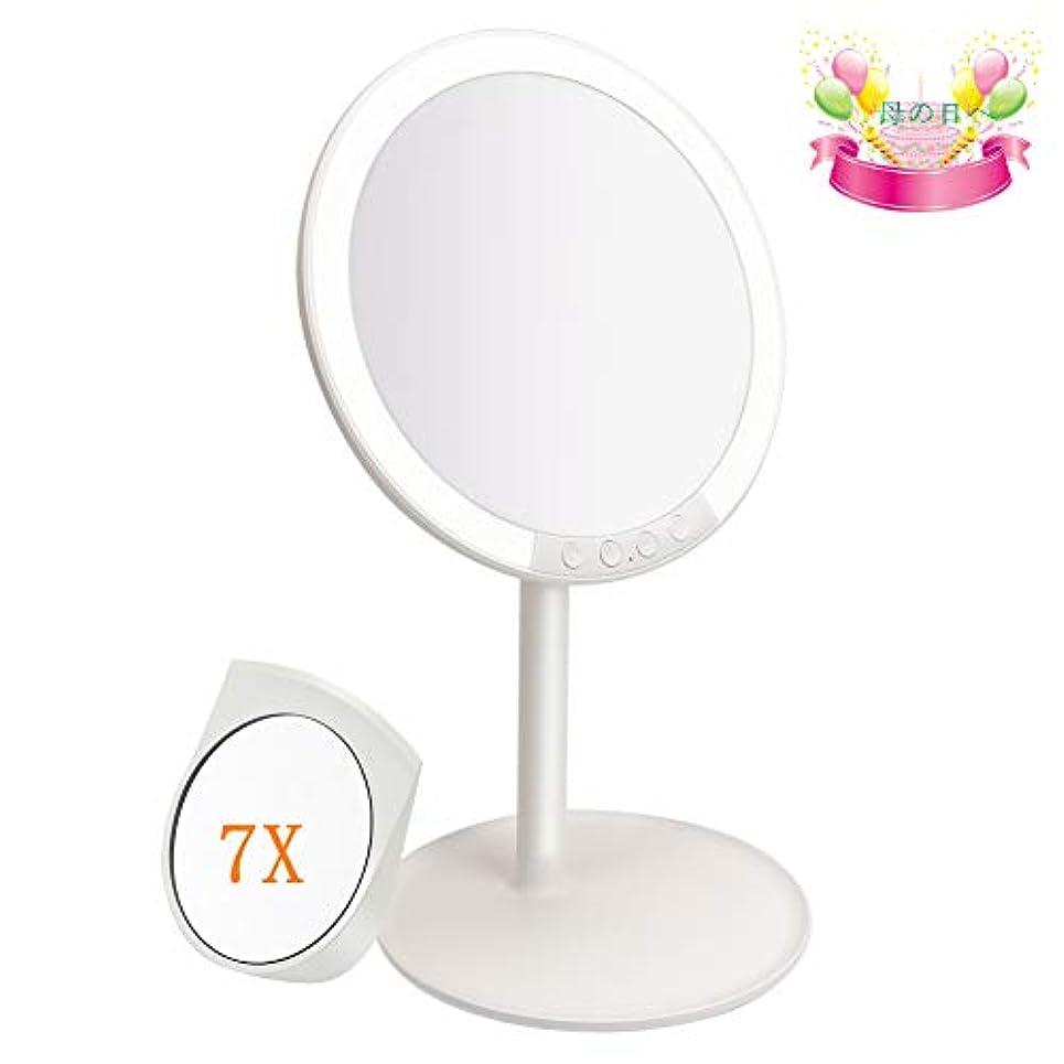 ベテランインポートしかし女優さんの鏡 化粧鏡 化粧ミラー 66LEDライト 3色光モード 7段階調光 USB式 7倍拡大鏡 180度回転 収納ベース