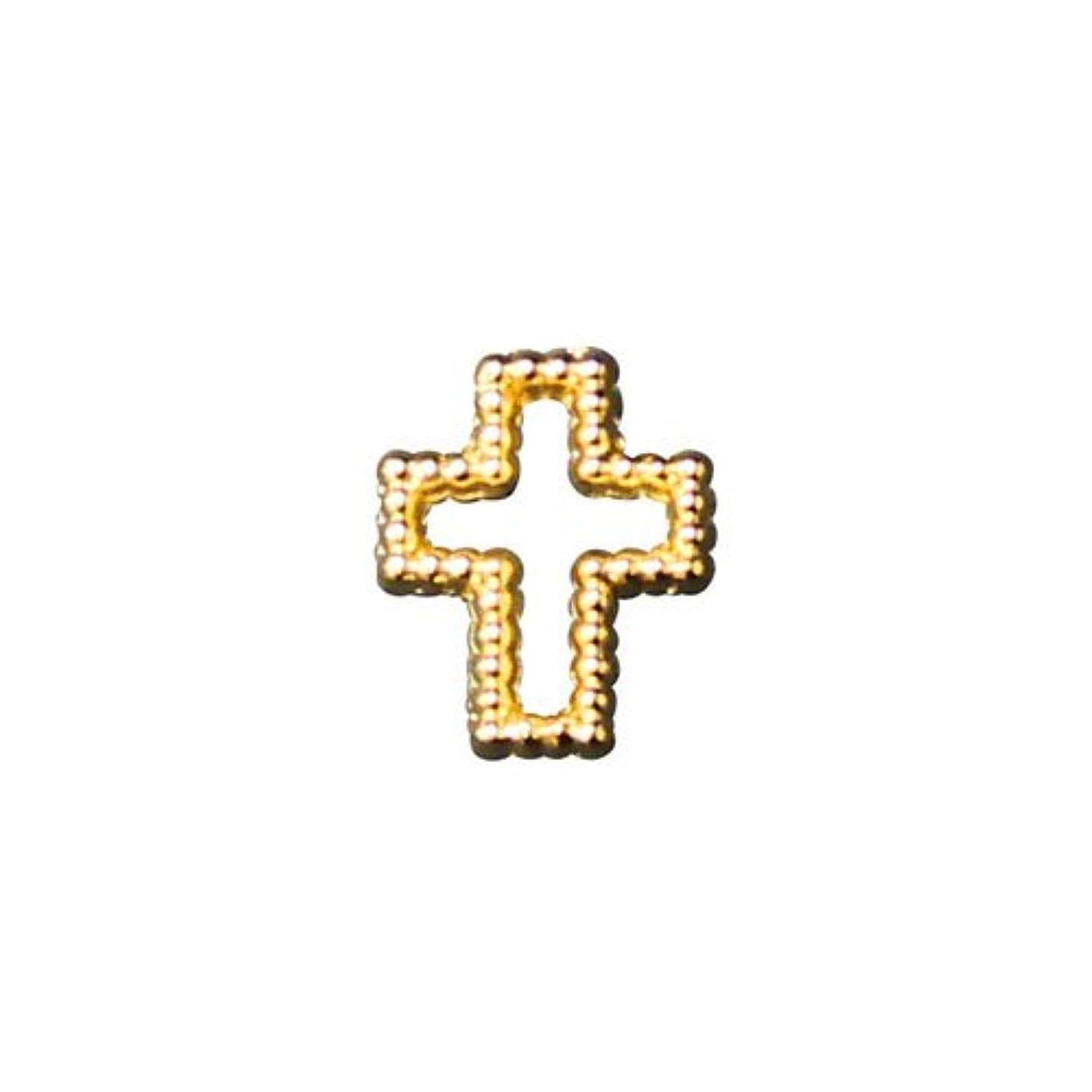 プリティーネイル ネイルアートパーツ ブリオンクロス2 M ゴールド 12個