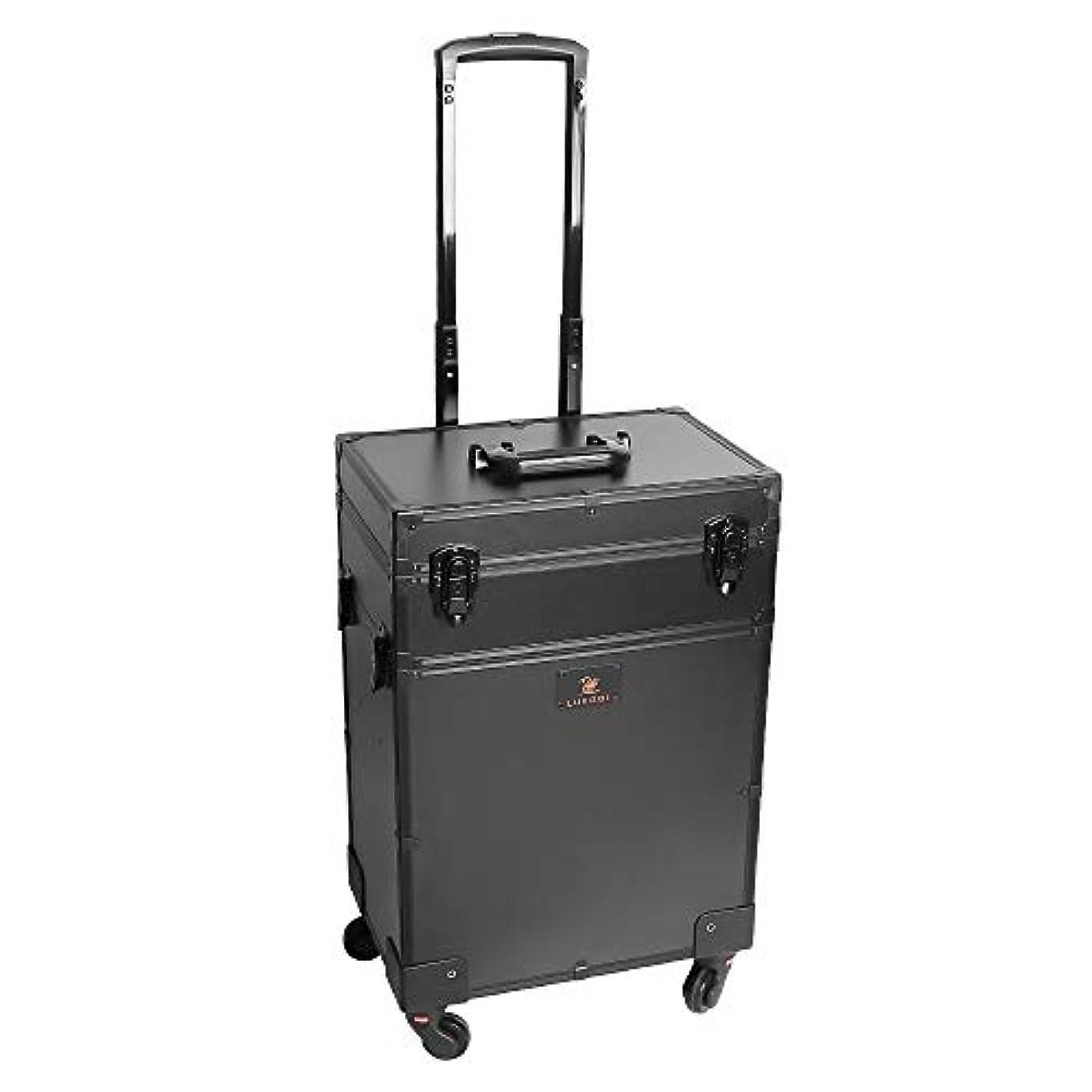 必要反動なしでLUVODI メイクボックス 鏡付き 大容量 プロ用 メイクキャリーケース ミニドレッサー付き 鍵付き 持ち運び 美容師 業務 旅行 コスメ収納ボックス 化粧箱 ブラック