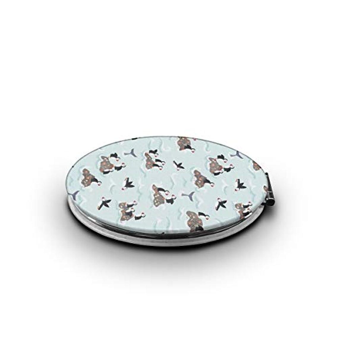 独裁眠いです引き算携帯ミラー ペンギンミニ化粧鏡 化粧鏡 3倍拡大鏡+等倍鏡 両面化粧鏡 楕円形 携帯型 折り畳み式 コンパクト鏡 外出に 持ち運び便利 超軽量 おしゃれ 9.0X6.6CM
