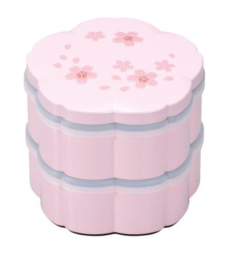 まえじゅう漆器 桜二段小重 ピンク 舞桜(シール蓋付) 2R...