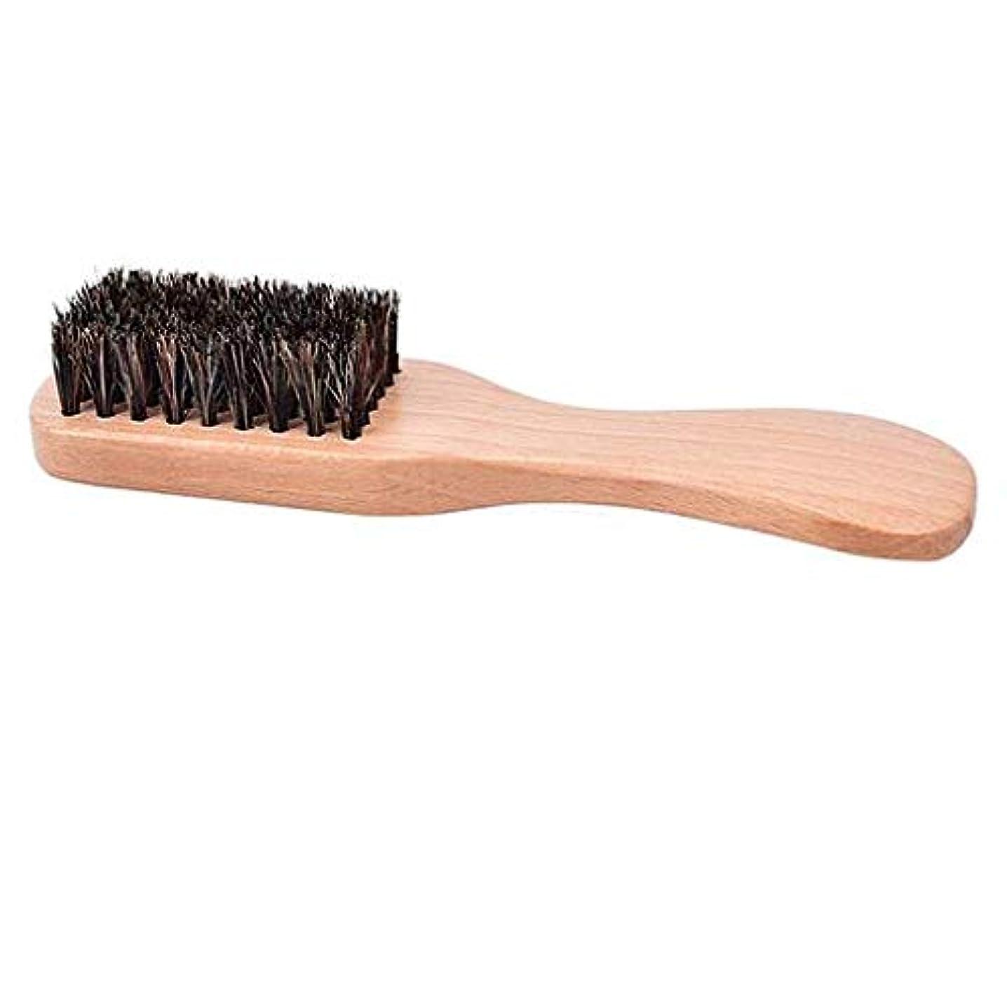 TerGOOSE 髭ブラシ ひげブラシ コーム フェードブラシ 理容 美容 ひげ口 豚毛 男性 メンズ 丸め 絶妙 専用 ロングハンドル 高品質 贈り物