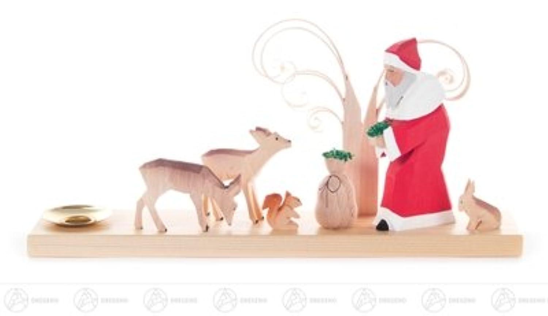 およそ 11.5 cm の鉱石山のクリスマス図木図の蝋燭 d=14mm の高さのために、切り分けられる森林動物を持つサンタクロースを切り分けます
