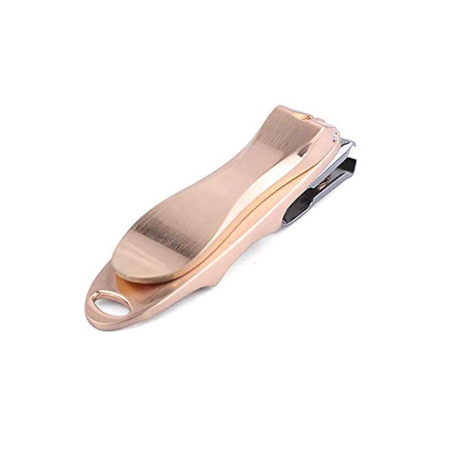 トライアスリート急速な真似る360度回転爪切り 飛び散らない ステンレス製爪きり高級感溢れる収納ケース付き、ゴールド