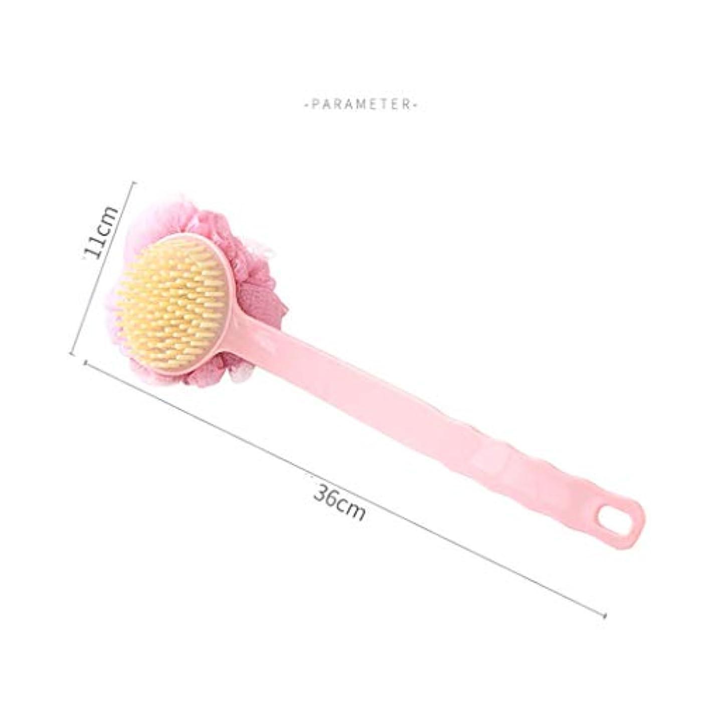 砂利細菌実用的Bath Body Brush - 敏感肌用のソフトファーロングハンドルエクスフォリエーションバックスクラバー付きシャワーボディバックブラシ (色 : ピンク)