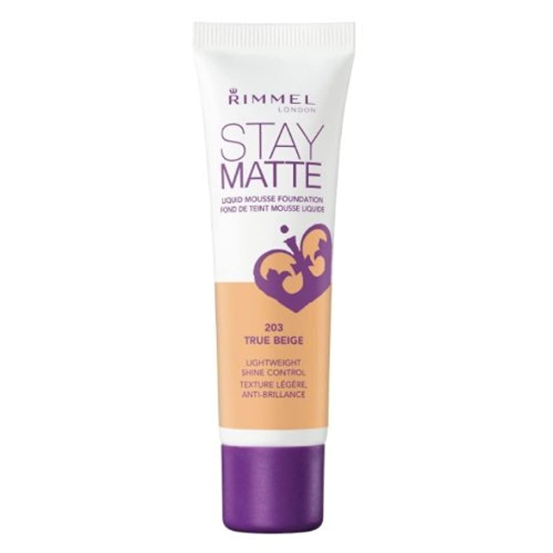 宣言糞間接的RIMMEL LONDON Stay Matte Liquid Mousse Foundation - True Beige (並行輸入品)